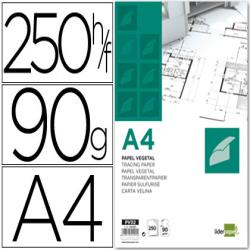 Papel dibujo liderpapel 210x297mm 90g/m2 vegetal