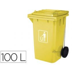 Papelera contenedor q-connect plastico con tapadera 100l color amarillo 750x470x370 mm con ruedas