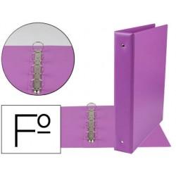 Carpeta liderpapel 4 anillas 40 mm redondas plastico folio color lila
