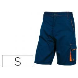Pantalon de trabajo deltaplus bermuda cintura ajustable 5 bolsillos color azul naranjatalla s