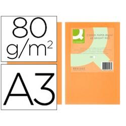 Papel color q-connect din a3 80gr naranja neon paquete de 500 hojas