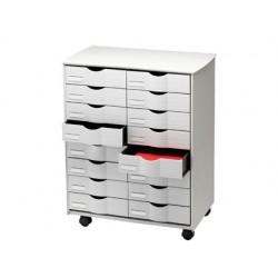 Mueble auxiliar fast-paperflow para oficina negro 16 cajones en 2 columnas gris5x382 71,5x58x34,3 cm