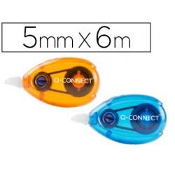 Corrector q-connect cinta blanco 5 mm x 6 mt - blister dos uds naranja y azul
