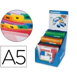 Carpeta liderpapel clasificador fuelle polipropileno a5 expositor de 12 unidades colores surtidos