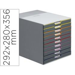 Fichero cajones de sobremesa durable varicolor apilables 10 cajones plastico 292x280x356 mm