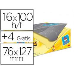 Bloc de notas adhesivas quita y pon post-it super sticky amarillo canario 76x127 mm pack promocional 20+4 gratis