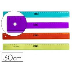 Regla m+r 30 cm plastico colores surtidos graduada y biselada