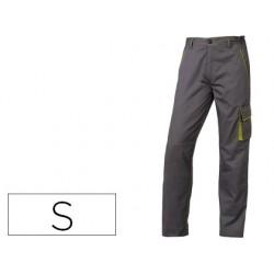 Pantalon de trabajo deltaplus cintura ajustable 5 bolsillos color gris verde talla s
