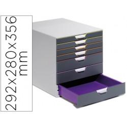 Fichero cajones de sobremesa durable varicolor apilables 7 cajones plastico 292x280x356 mm