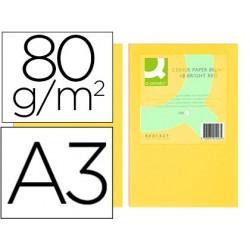 Papel color q-connect din a3 80gr amarillo paquete de 500 hojas
