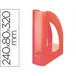 Revistero q-connect plastico rojo translucido