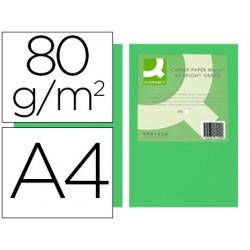 Papel color q-connect din a4 80gr verde intenso paquete de 500 hojas