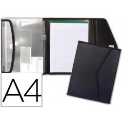 Carpeta beautone portadocumentos polipropileno con 5 bolsas y bloc de notas cierre de velcro din a4 negro