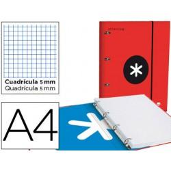 Carpeta con recambio y solapa liderpapel antartik a4 cuadro 5 mm forrada 4 anillas redondas 40mm color rojo