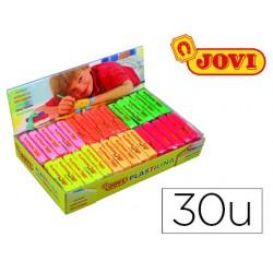 Plastilina jovi 70f tamaño pequeño caja de 30 unidades colores fluorescentes