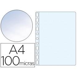 Funda multitaladro q-connect din a4 100 mc cristal bolsa de 100 unidades