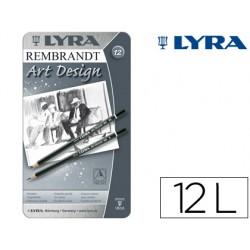 Lapices de grafito lyra rembrand art design caja de 12 graduaciones 6b-5b-4b-3b 2b-b-hb-f-h-2h-3h-4h