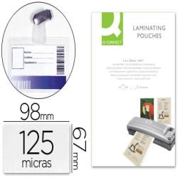 Bolsa de plastificar q-connect 67x98 mm 125 mc con clip para tarjetas de visita caja de 25 unidades