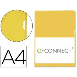 Carpeta dossier uñero plastico q-connect din a4 120 micras amarilla caja de 100 unidades