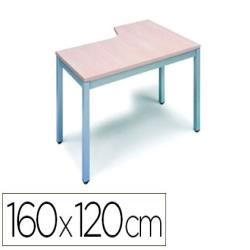 Mesa rocada serie executive 160x120 cm izquierda acabado ad01 aluminio/haya