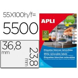 Etiqueta adhesiva apli 36,8x23,8 mm fotocopiadora laser inkjet caja 100 hojas din a4 con 5500 etiquetas