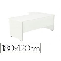 Mesa rocada serie work 180x120 cm izquierda acabado aw04 blanco/blanco
