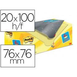 Bloc de notas adhesivas quita y pon post-it super sticky amarillo canario 76x76 mm pack promocional 20+4 gratis