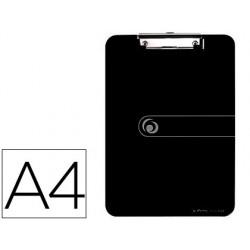 Portanotas herlitz con pinza din a4 negro,225x315mm, 2,5mm poliestireno,tabla con pinza clip de metal, apto colgar