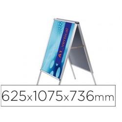 Caballete para poster jensen display aluminio doble cara din a1 marco de 25 mm con cantoneras 625 x 1075 x 736