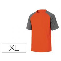 Camiseta de algodon deltaplus color gris naranja talla xl