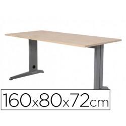 Mesa de oficina rocada metal 2002ac01 aluminio /haya 160x80 cm