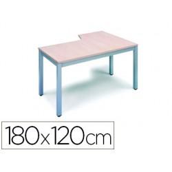 Mesa rocada serie executive 180x120 cm izquierda acabado ad02 aluminio/gris