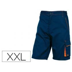 Pantalon de trabajo deltaplus bermuda cintura ajustable 5 bolsillos color azul naranjatalla xxl
