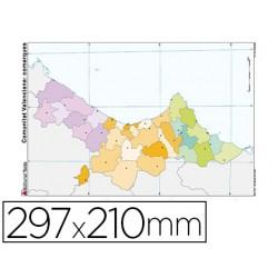 Mapa mudo color din a4 comunidad valenciana politico