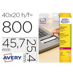 Etiqueta adhesiva avery tamaño 45,7x25,4 mm permanente laser blanca caja de 800 unidades