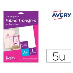 Papel transfer avery para camisetas algodon color blanco ink-jet din a4 pack de 5 hojas