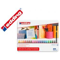 Rotulador edding punta fibra 1200 caja metal 20 colores surtidos punta redonda 0,5 mm expositor de 8 unidades + 8