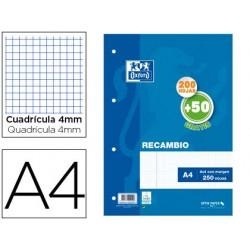 Recambio oxford din a4 200 + 50 hojas gratis cuadro 4 mm con margen