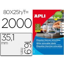 Etiqueta adhesiva apli 35,6x16,9 mm fotocopiadora laser inkjet caja 25 hojas din a4 con 2000 etiquetas