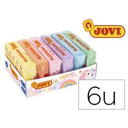 Plastilina jovi 70 surtida tamaño pequeño colores pastel surtidos caja de 6 unidades 50 g