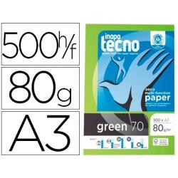 Papel fotocopiadora tecno green 100% reciclado din a3 80 gramos paquete de 500 hojas