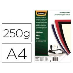 Tapa de encuadernacion fellowes din a4 carton brillo blanco chromolux 250 gr pack de 100 unidades