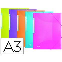 Carpeta gomas elba urban polipropileno din a3 colores surtidos