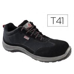 Zapatos de seguridad deltaplus asti piel de serraje afelpado suela de composite negro talla 41