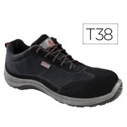 Zapatos de seguridad deltaplus asti piel de serraje afelpado suela de composite negro talla 38