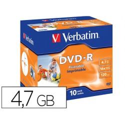 Dvd-r verbatim imprimible capacidad 4.7gb velocidad 16x 120 min pack de 10 unidades