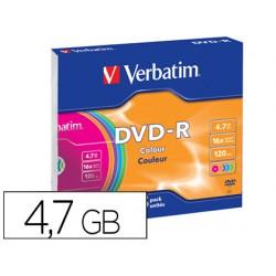 Dvd-r verbatim azo capacidad 4.7gb velocidad 16x 120 min pack de 5 unidades colores surtidos caja slim