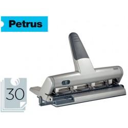 Taladrador petrus 514 metalico color plata 4 punzones moviles capacidad 30 hojas