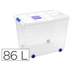Contenedor plastico plasticforte 86 litros n 8 transparente con tapa 470x620x450 mm
