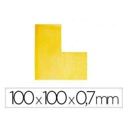 Simbolo adhesivo durable pvc forma de l para delimitacion suelo amarillo 100x100x0,7 mm pack de 10 unidades